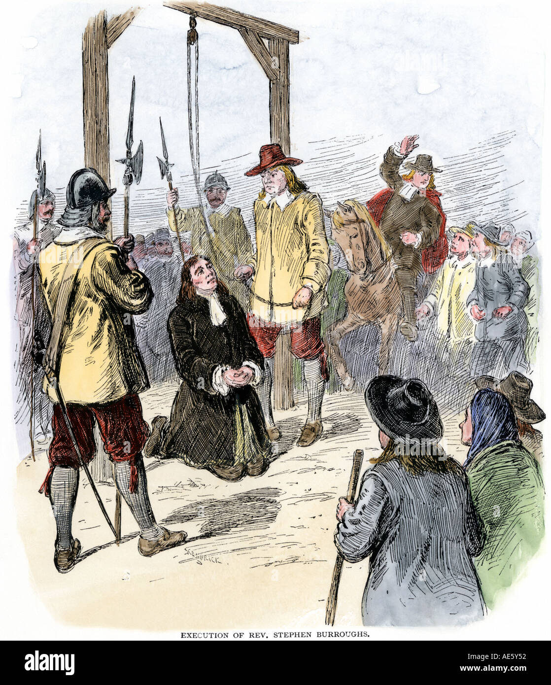 Execution of Reverend Stephen Burroughs of Wells Maine for witchcraft Salem MA 1692. Hand-colored woodcut - Stock Image