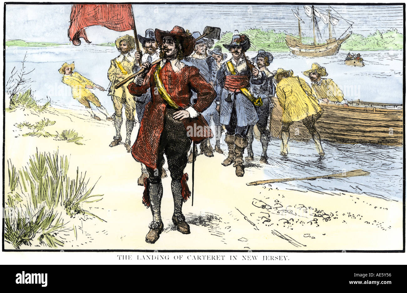 Royal Governor Phillip Carteret landing in New Jersey Colony 1665. Hand-colored woodcut - Stock Image