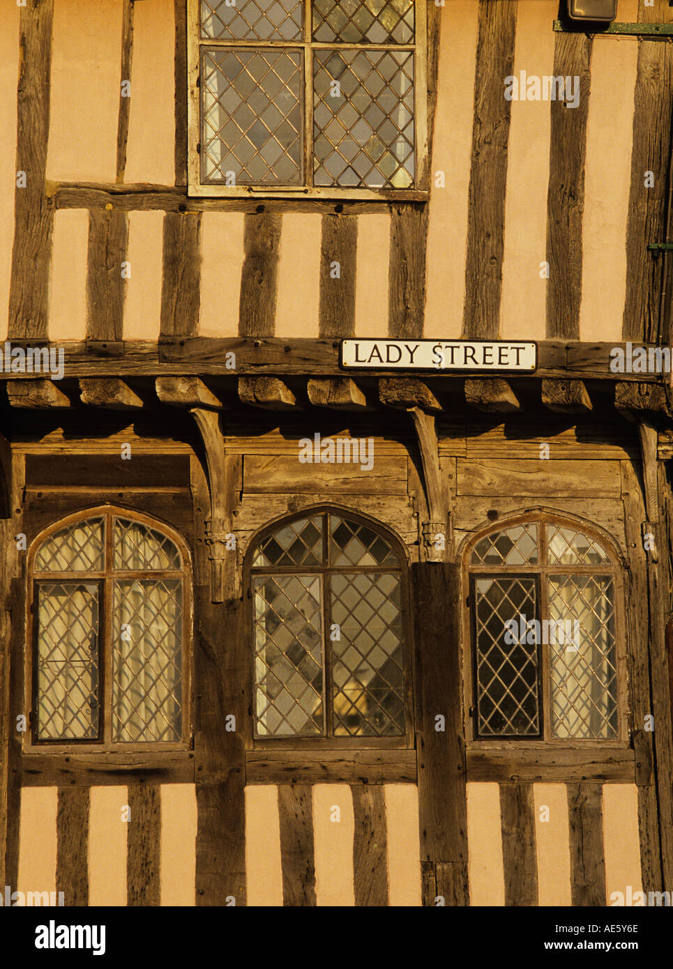 details of the oak timbers on the front of a medieval house in Lavenham Suffolk - Stock Image