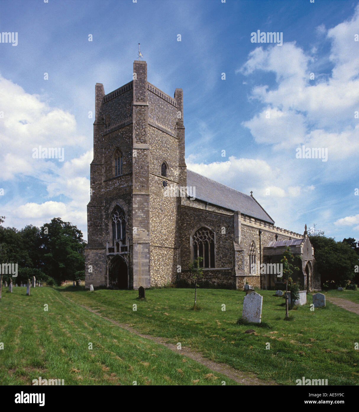 Stone church dates from 1166 Concerts held on occassions during Snape and Aldeburgh festivals Suffolk - Stock Image