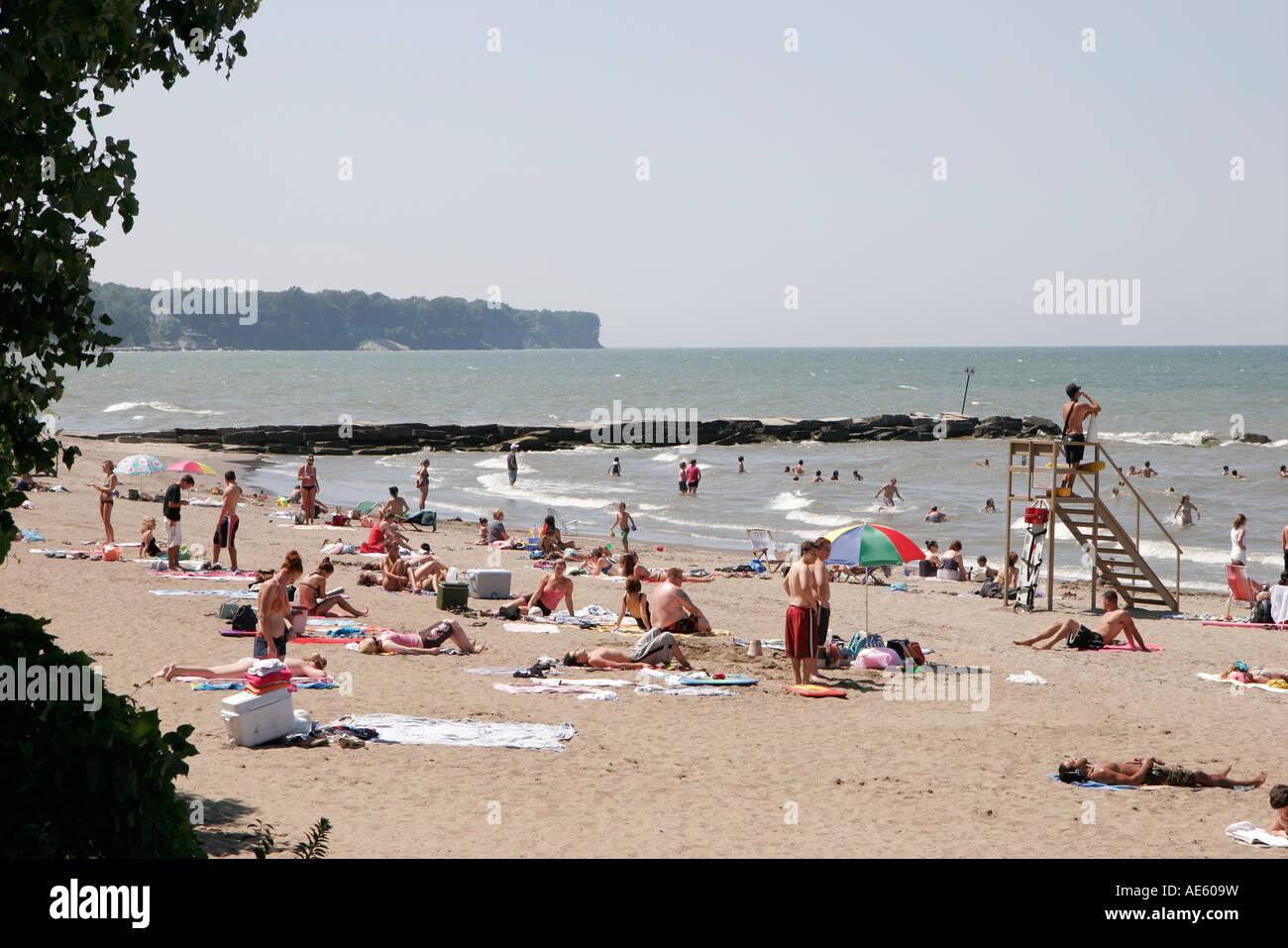 Ohio Oh Midwest Cuyahoga County Cleveland Lake Erie Huntington Stock Photo Alamy