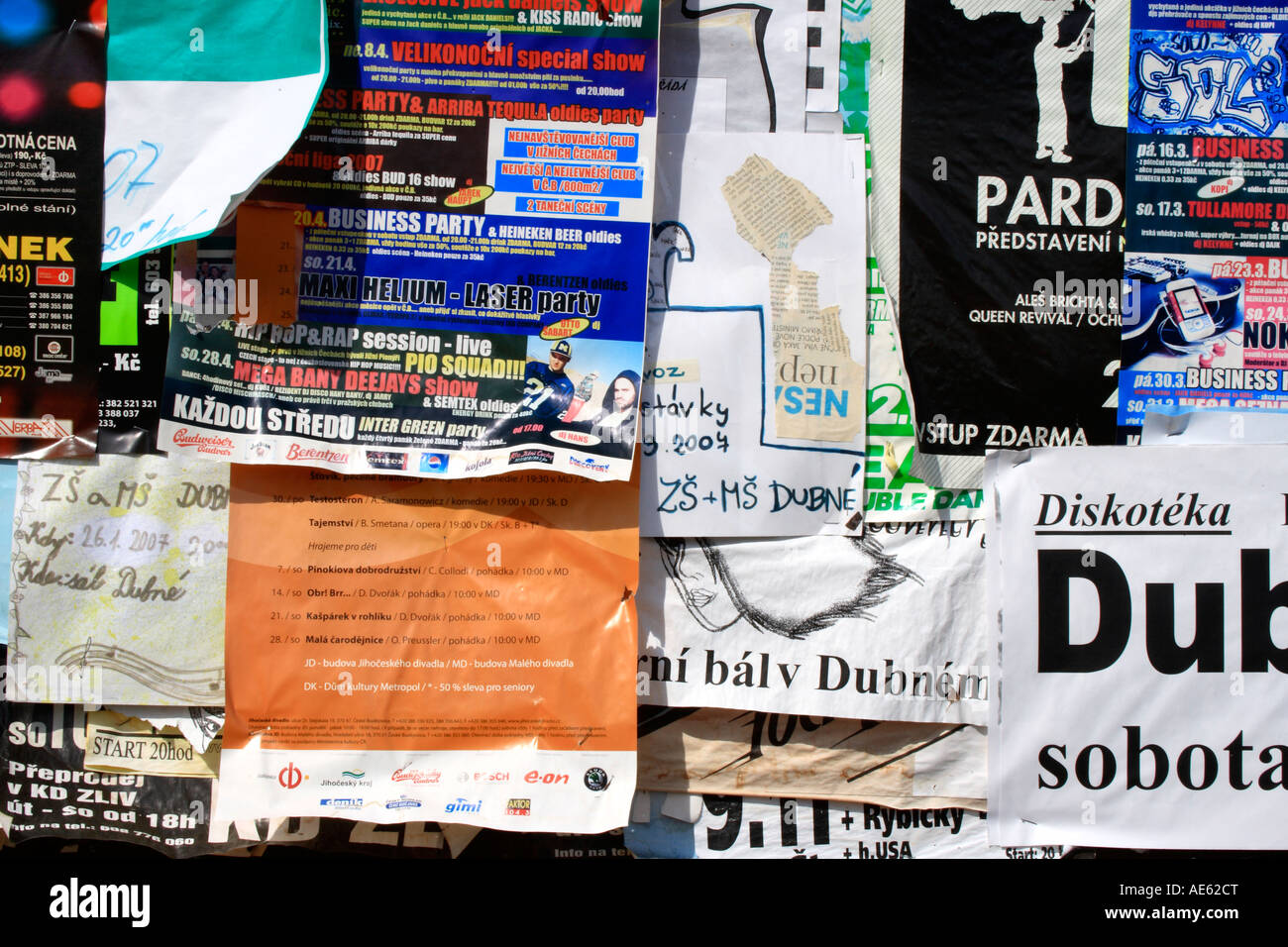 detail of a pin board with posters at the village Holasovice, Czech Republic.  Europe. Photo by Willy Matheisl - Stock Image