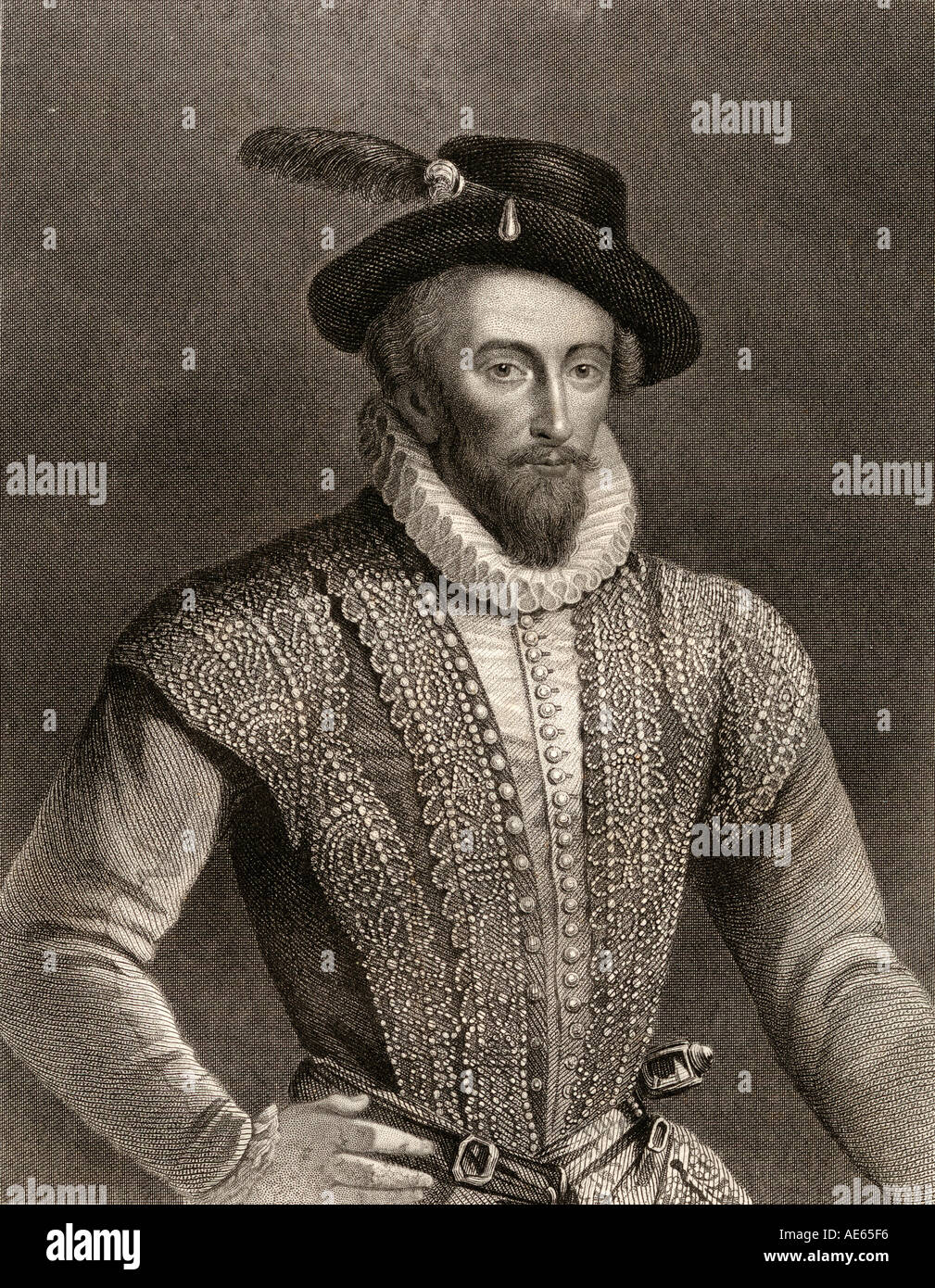 Sir Walter Raleigh, c 1554 - 1618.English landed gentleman, writer, poet, soldier, politician, courtier, spy and explorer. Engraved by W Holl - Stock Image