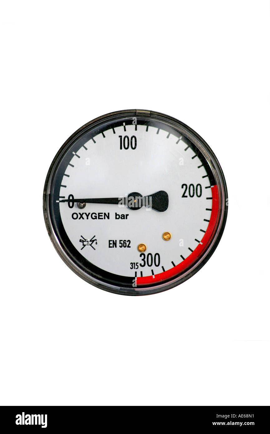 Manometer pressure gauge on an oxygen gas cylinder cut out
