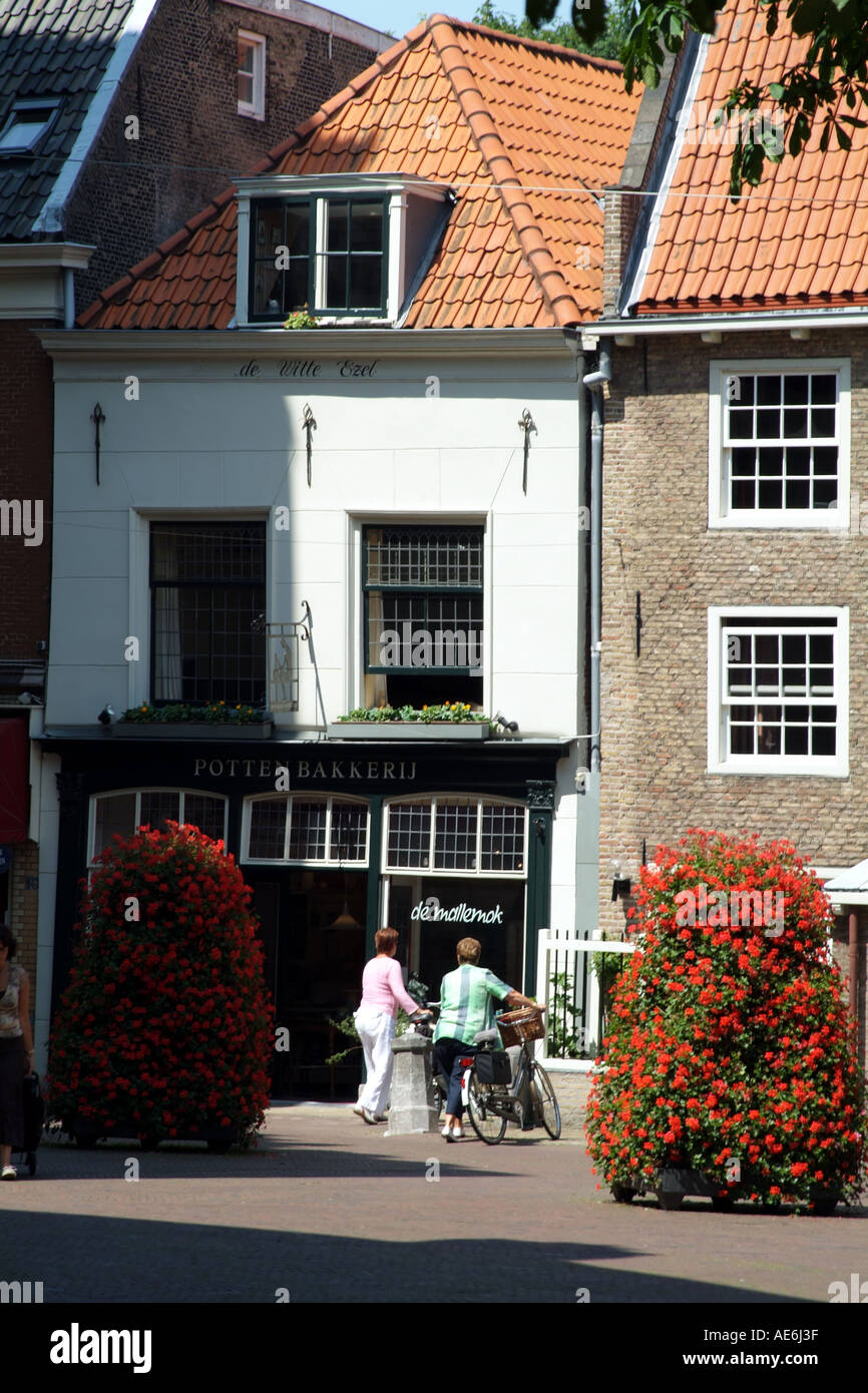 Delft old town The Netherlands Europe shopping - Stock Image