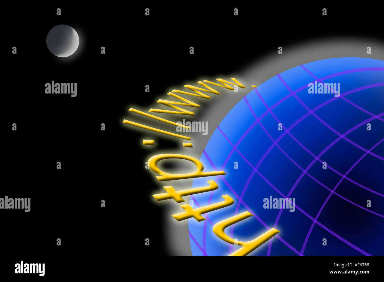 RHS70964 Conceptual digital images showing internet browsing code http with moon and earth - Stock Image