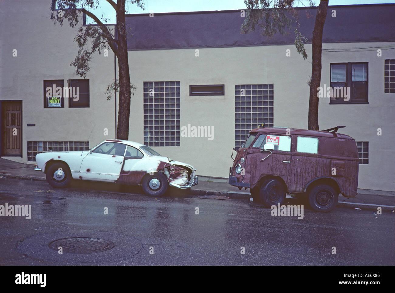 'VW 'Karman Ghia' 2 door coupé and ^shortened VW van, 'San Francisco' California' - Stock Image