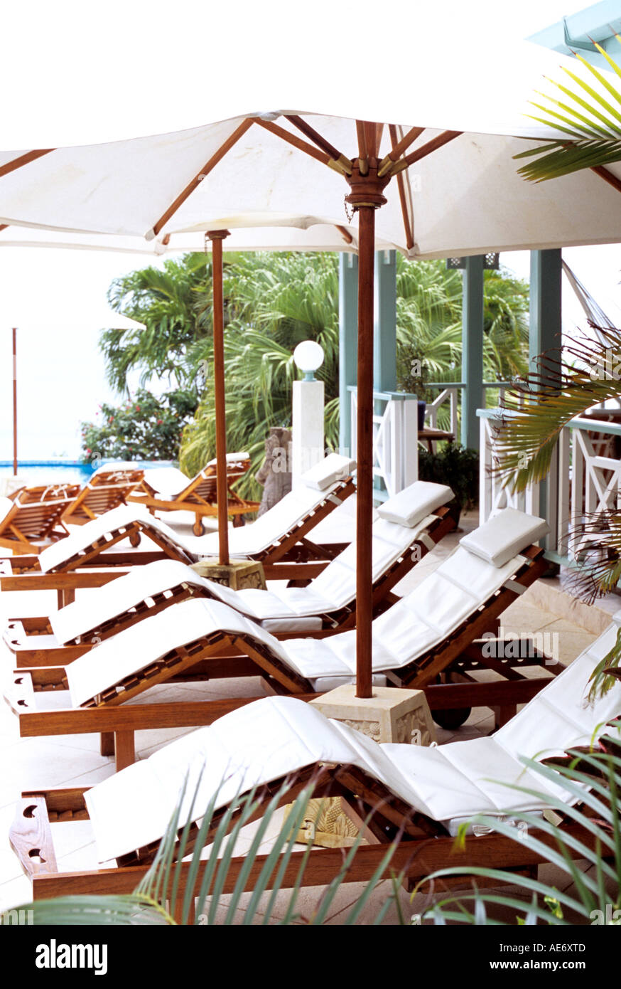 Row of sun loungers with white cushions - Stock Image
