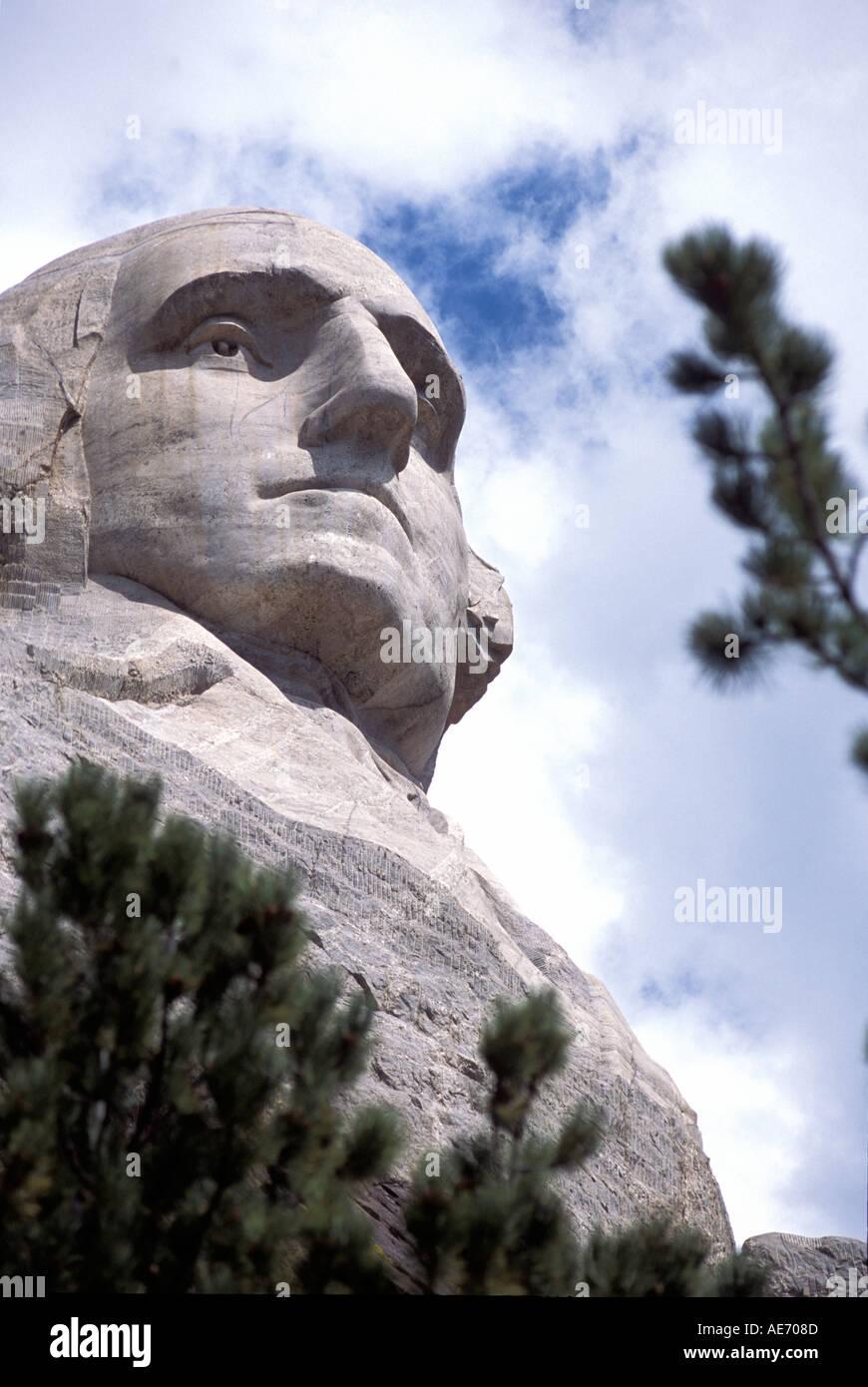 George Washington on Mt Rushmore South Dakota USA - Stock Image