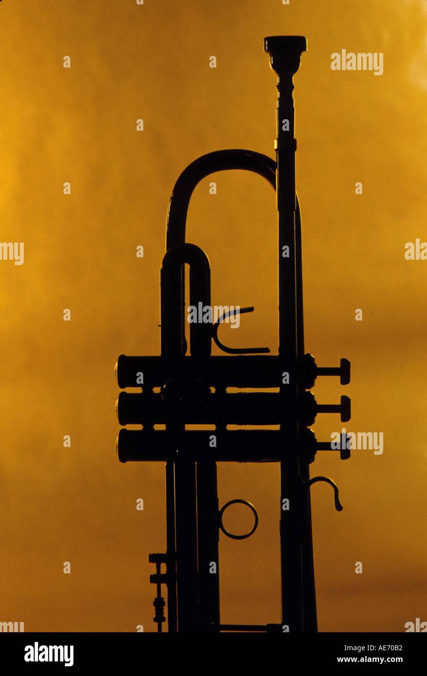 Trumpet silhouette - Stock Image