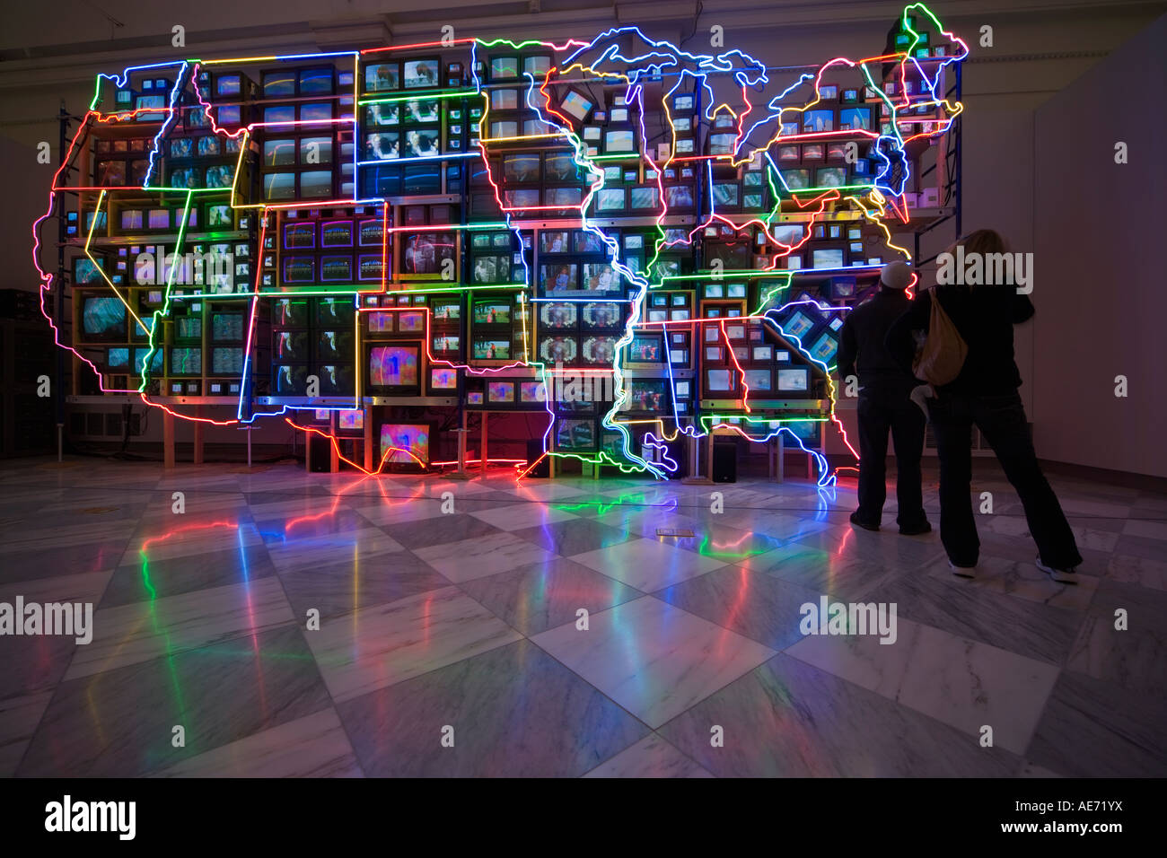 Neon Map Of The Usa In Sculpture Video Art Installation Electronic Stock Photo Alamy