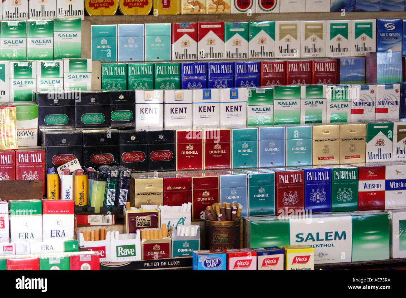 Various Brands Of Cigarettes Cigars And Tobacco Products