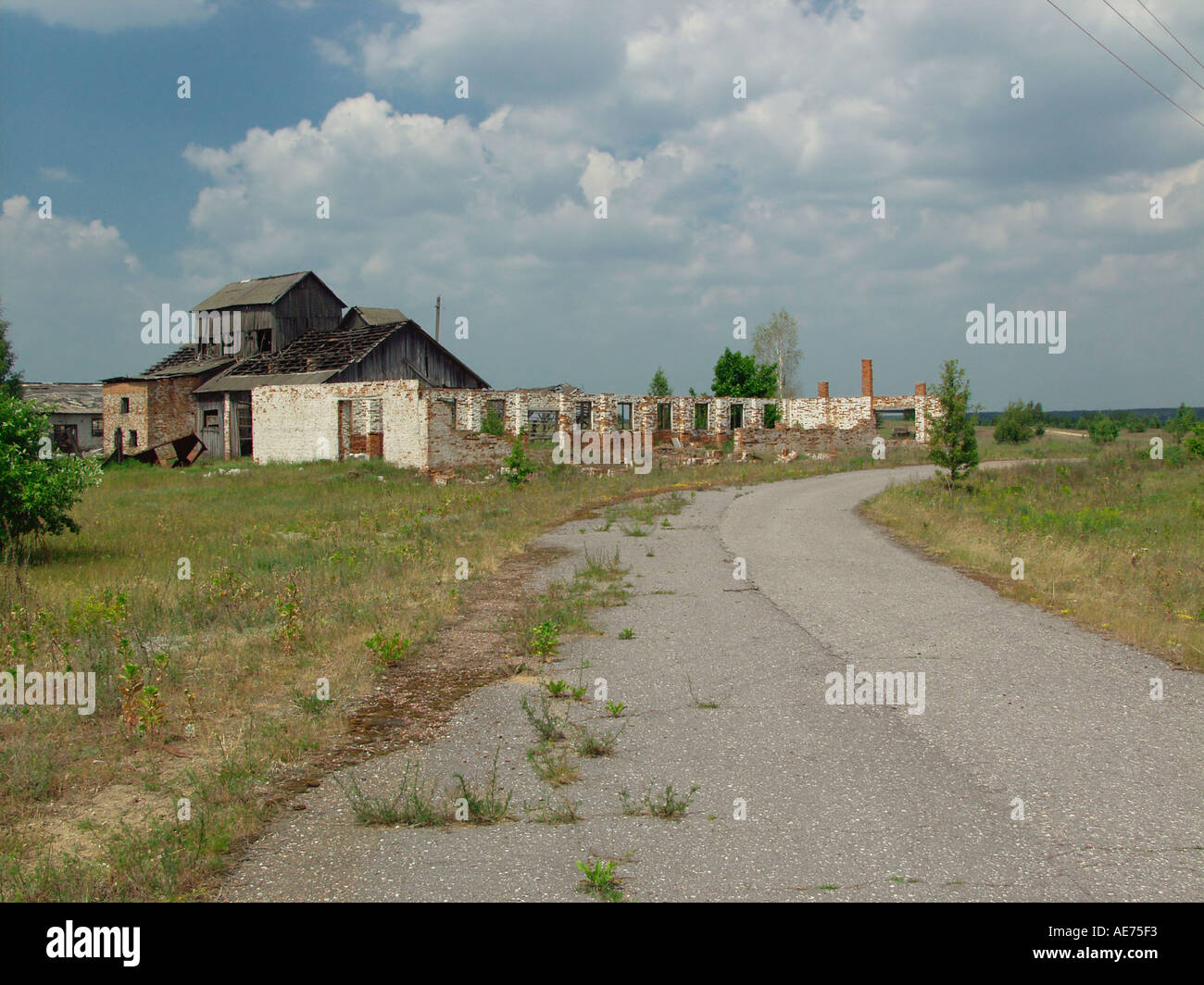 View of an open road with derelict decaying properties in Chernobyl exclusion zone Belarus - Stock Image