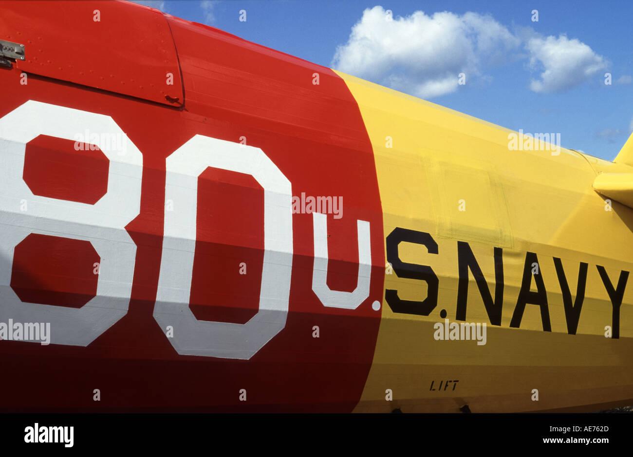 Fuselage Markings on Stearman Biplane - Stock Image