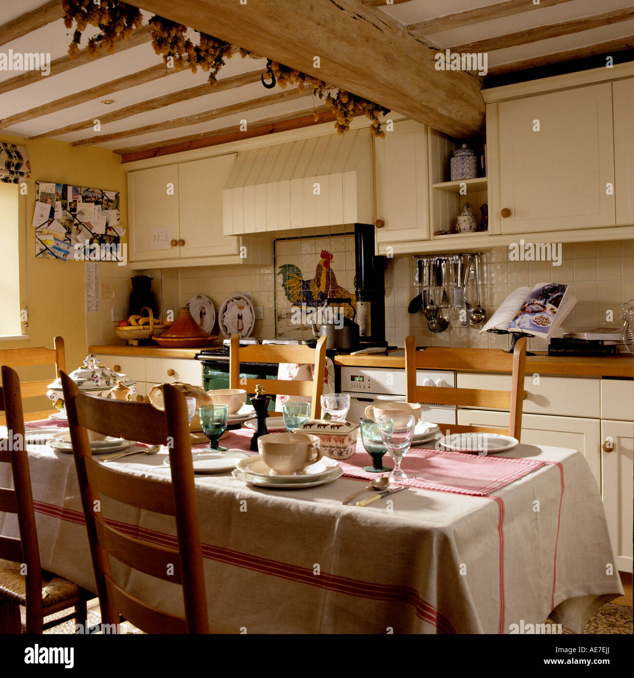 Country Kitchen Of An English Cottage With Wooden Beams