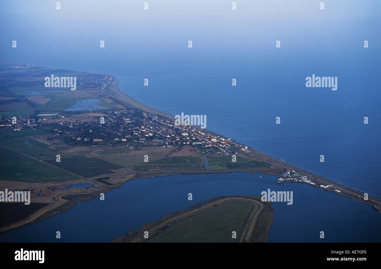 aerial of the mouth of the River Alde at high tide with the coastal town of Aldeburgh and its long shingle beach - Stock Image