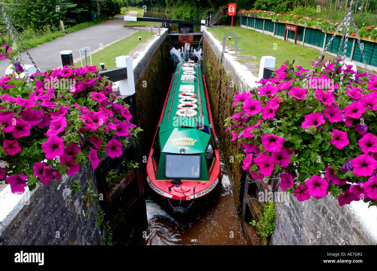 Narrowboat in Brynich Lock on the Monmouthshire and Brecon Canal near Llanfrynach Powys South Wales UK Stock Photo