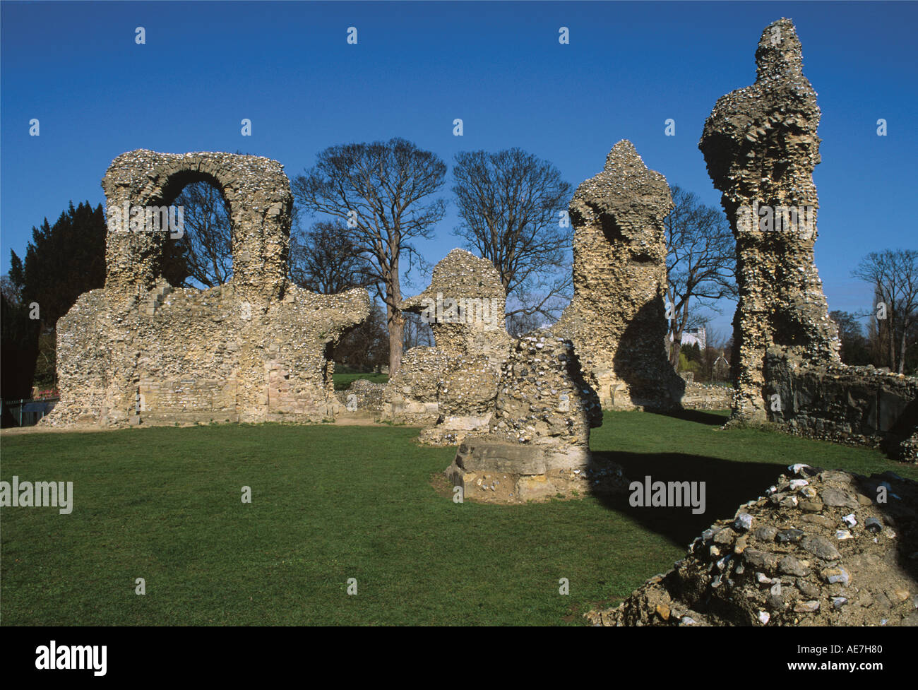 Ruins of the Norman Church completed cirsa 1200 Bury St Edmunds Suffolk - Stock Image