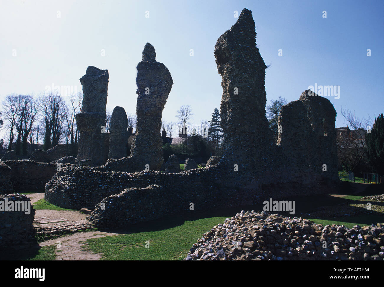 Ruins of the Norman Church completed circa 1200 Bury St Edmunds Suffolk - Stock Image