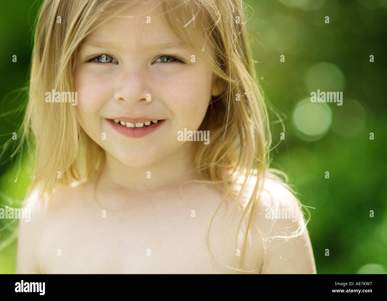 Little Girl With Bare Shoulders Portrait Stock Photo
