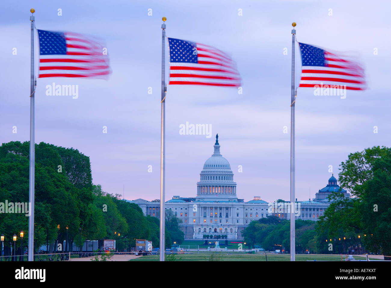 USA Washington DC The Capital Building viewed through the stars and Stripes - Stock Image
