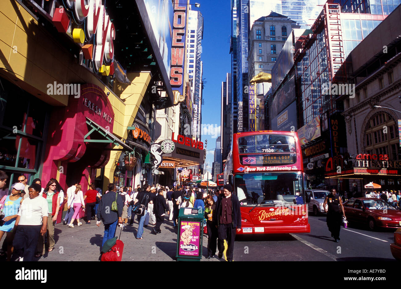 42nd St and 8th Avenue Times Square NY USA - Stock Image