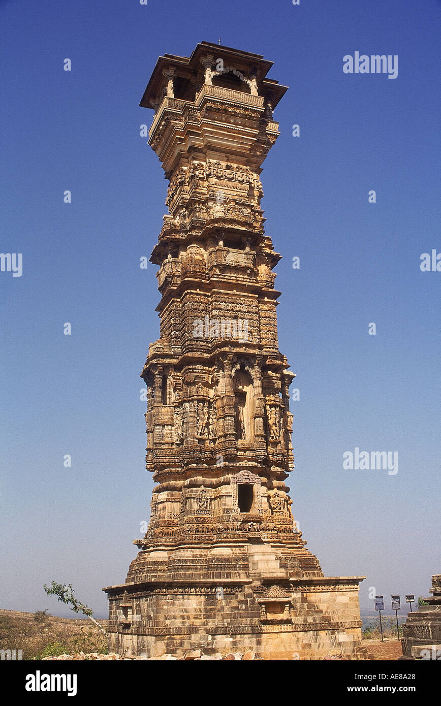 Kirtistambha the Tower of Fame built in the 12th century It is 75ft tall 30ft in diameter at the base and 15ft in diameter a - Stock Image