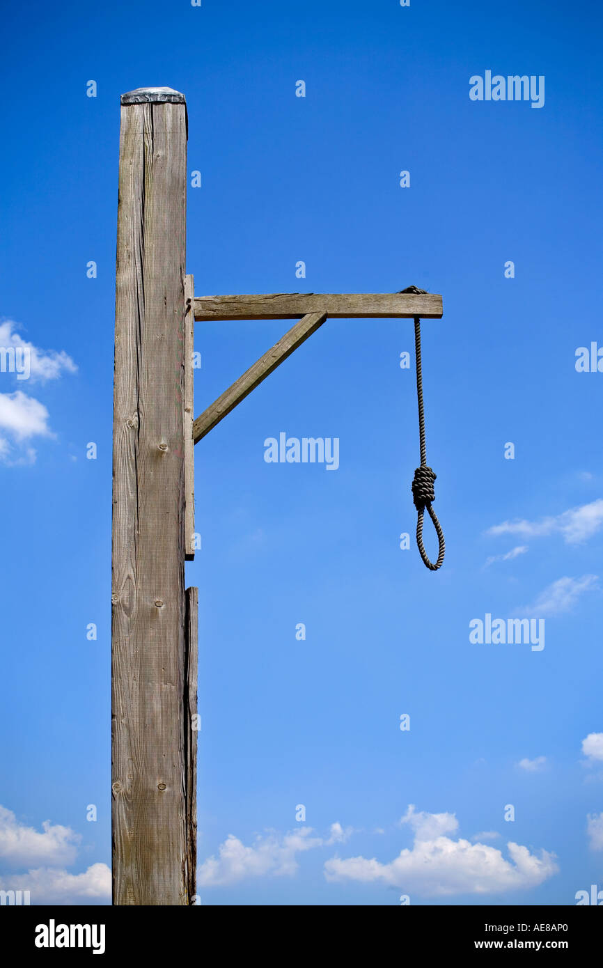 Old hangmans gallows on the bank of the River Thames in London England - Stock Image