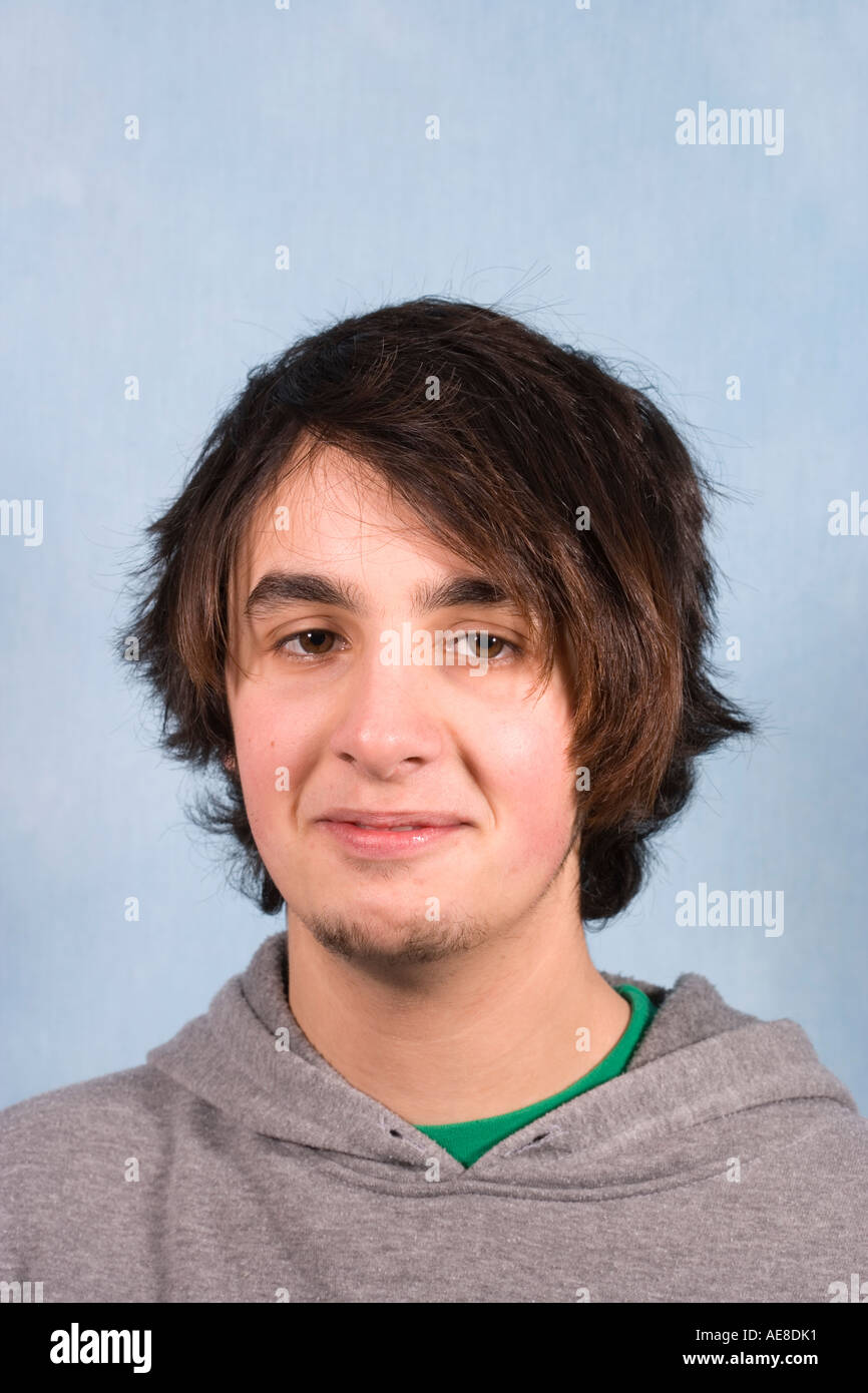 Portrait Of 17 Year Old Teenage Boy With Alternative Hair Style Stock Photo Alamy