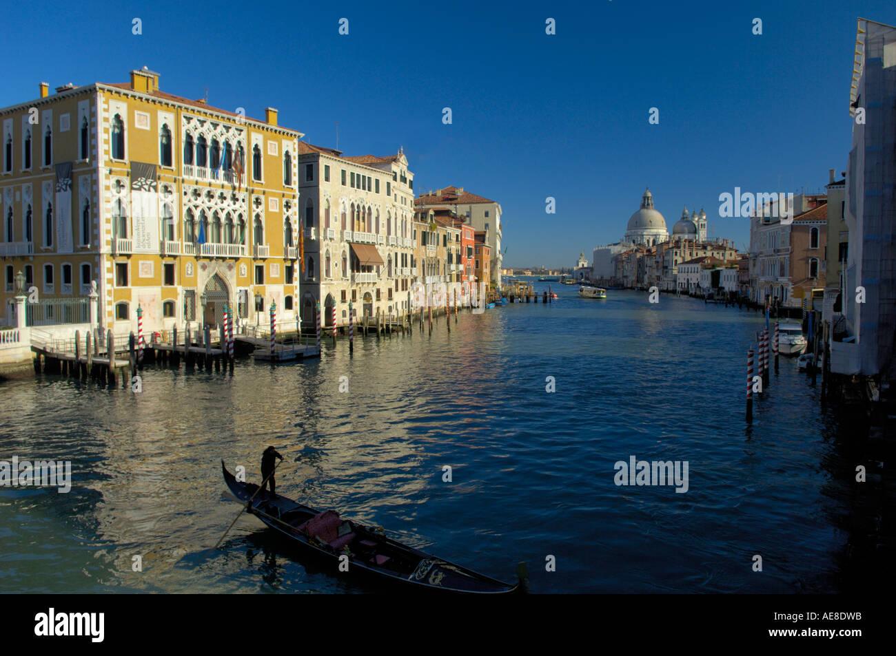 View from Academia Bridge towards Santa Maria Della Salute, Venice Stock Photo