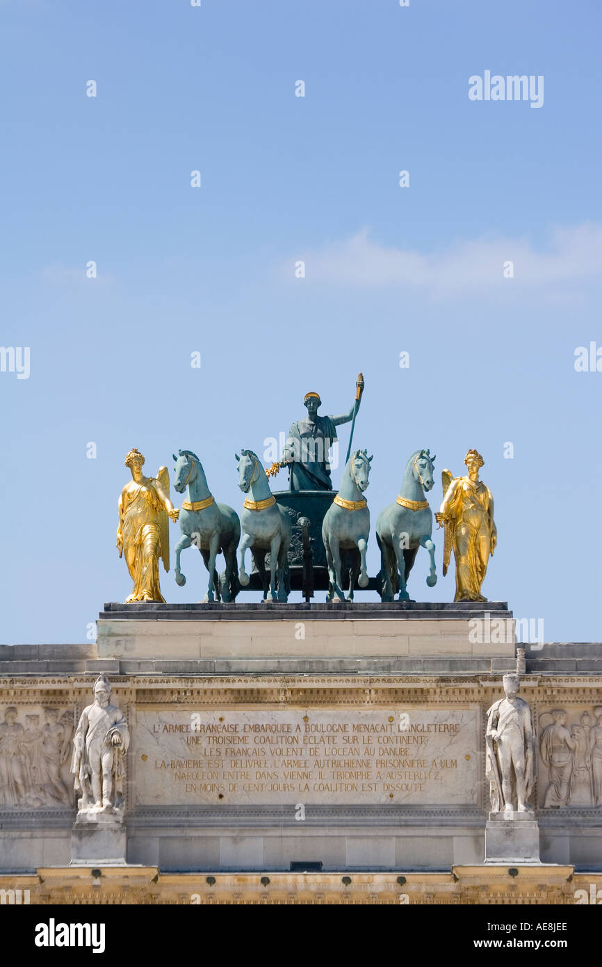 Sculpture on top of Arc de Triomphe du Carrousel Paris France - Stock Image