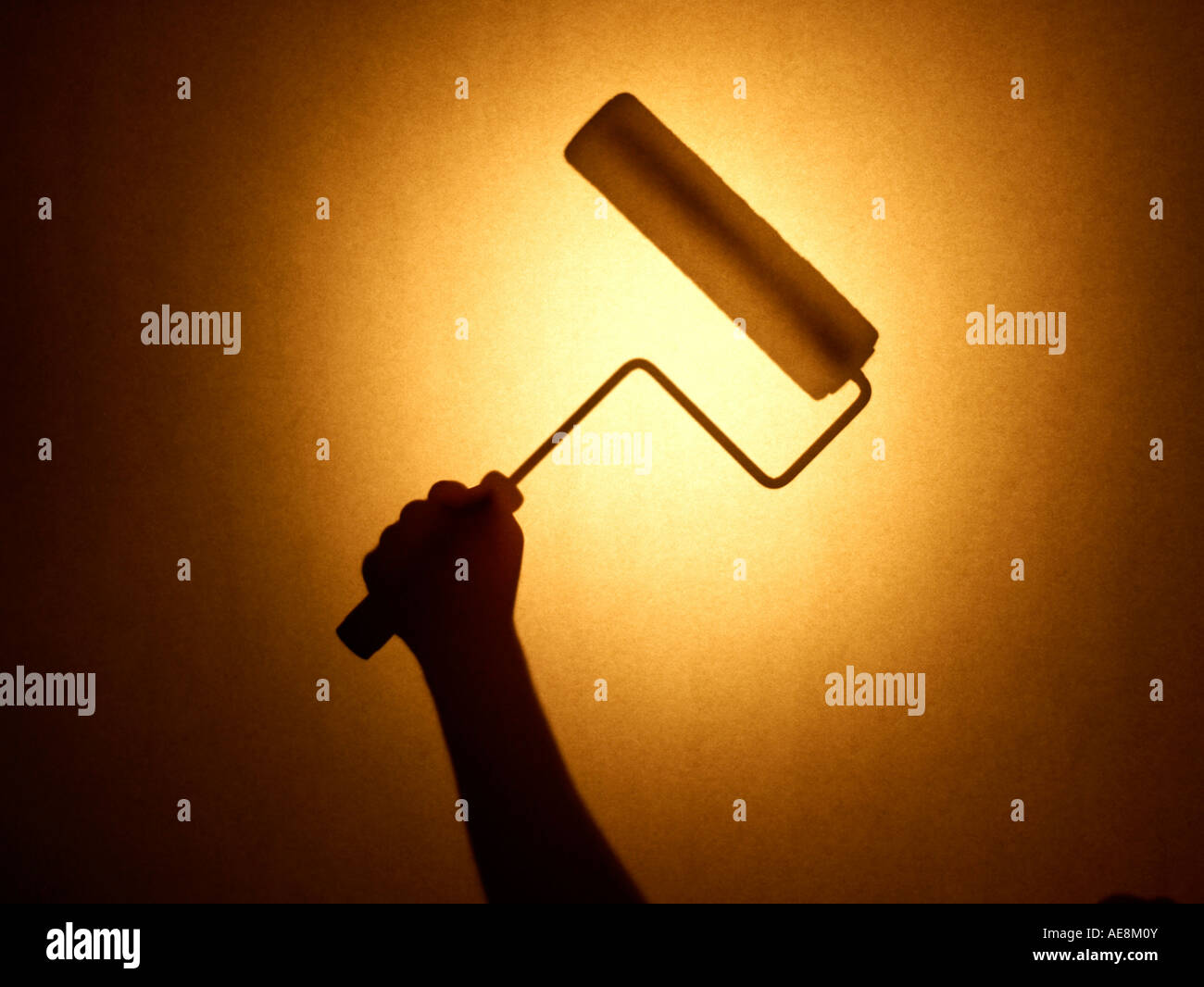 Paint roller hand - Stock Image