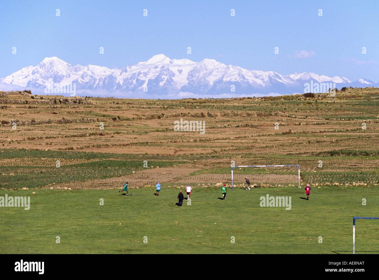 Andean football - Isla del Sol, Lake Titicaca BOLIVIA - Stock Image