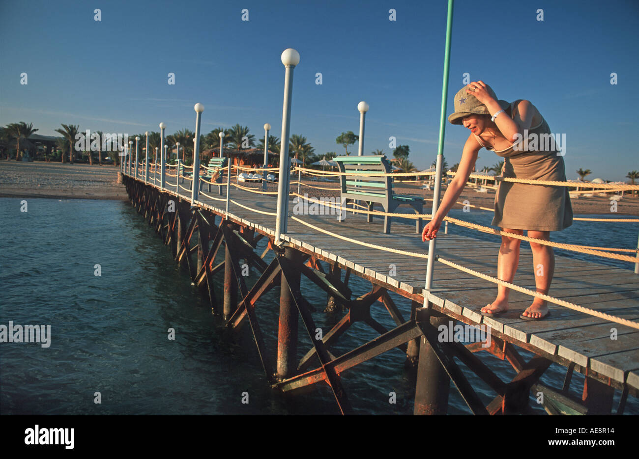 Woman standing on a jetty peering at the fish at sunset Red Sea coast at Nuweiba Sinai Egypt Vacation photo Middle East - Stock Image