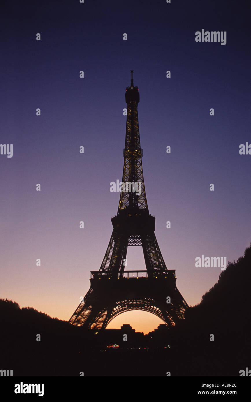 Eiffel Tower at sunset Paris France Europe - Stock Image