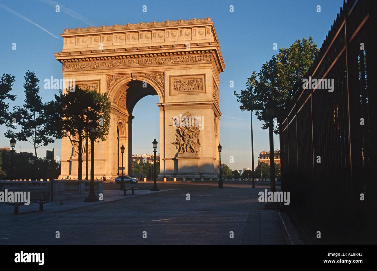 Arc de Triomphe at dawn Paris France - Stock Image