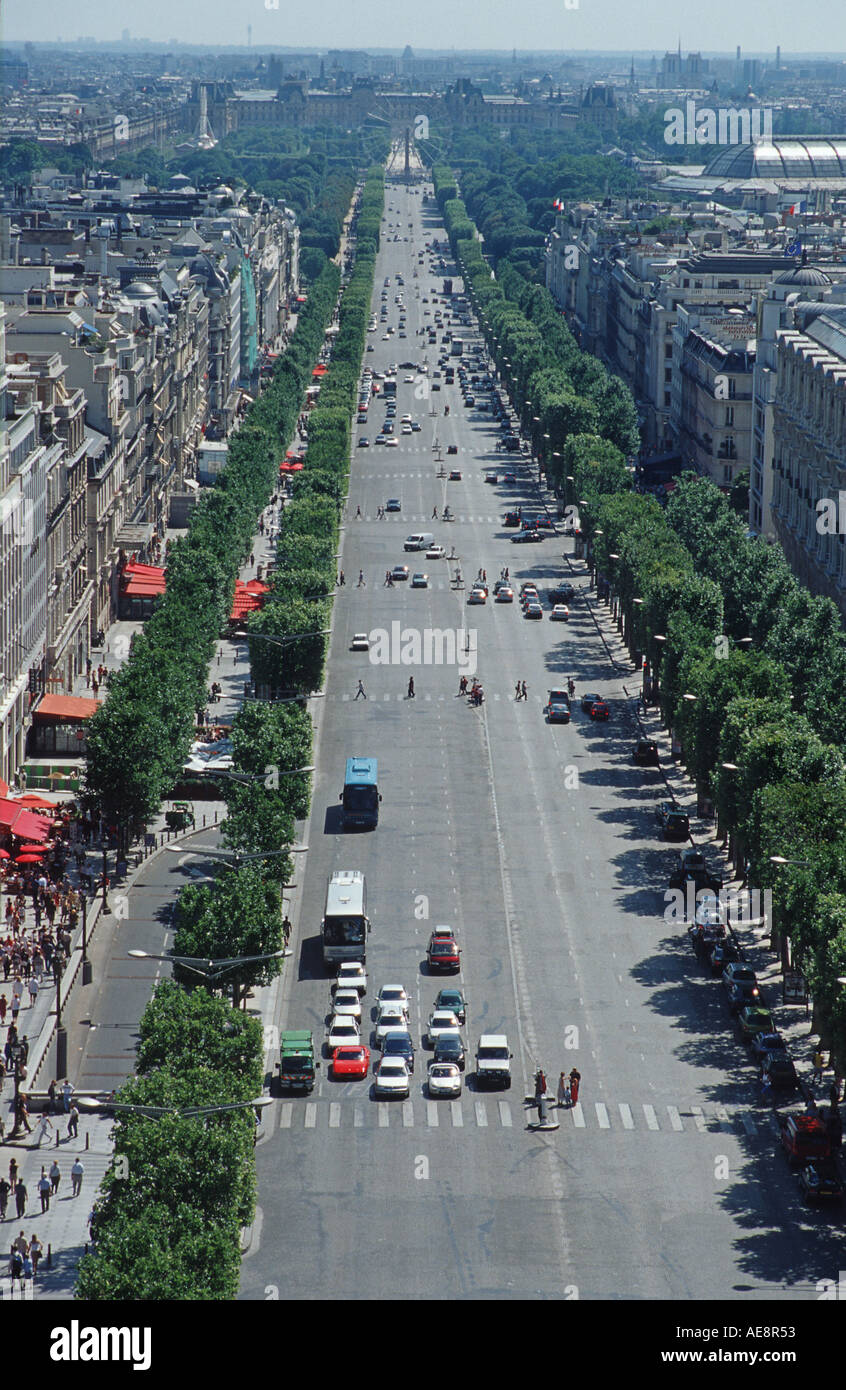 View from the top of the Arc de Triomphe towards Tuilleries Paris France - Stock Image