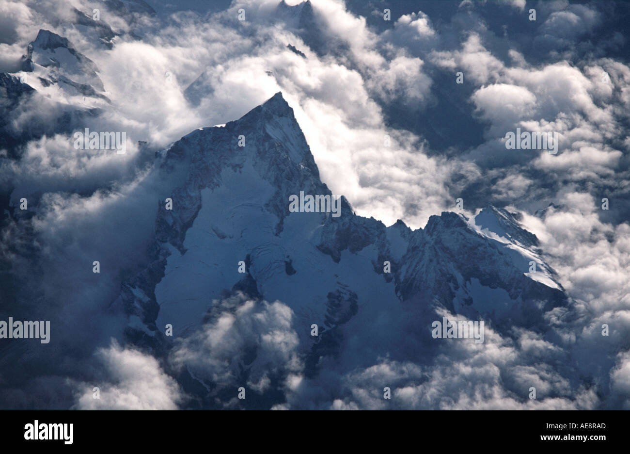 French Alps viewed from an aircraft France Europe - Stock Image