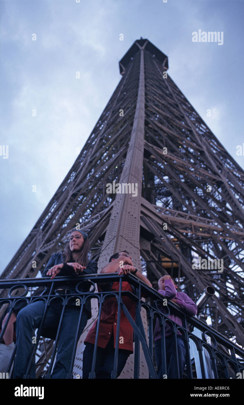 Visitors on the observation deck Eiffel Tower Paris France - Stock Image