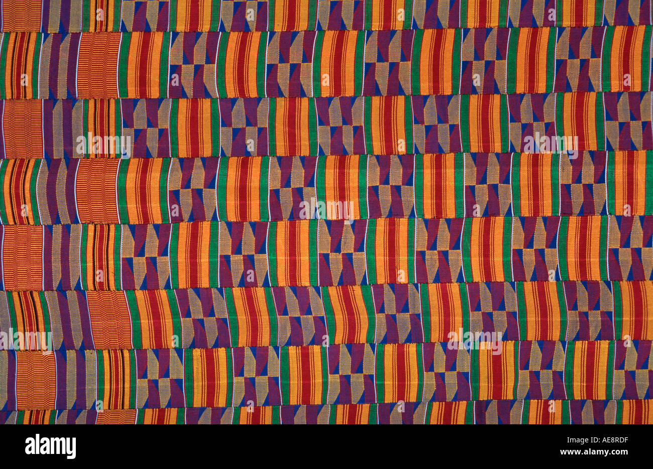 Ceremonial textile from Ghana West Africa Known as Kente cloth Asante people - Stock Image