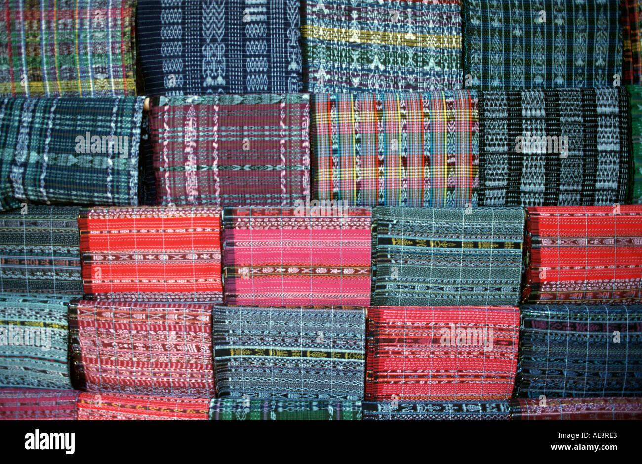 Guatemalan skirt fabric for sale at market Santiago Atitlan Lake Atitlan Guatemala Stock Photo