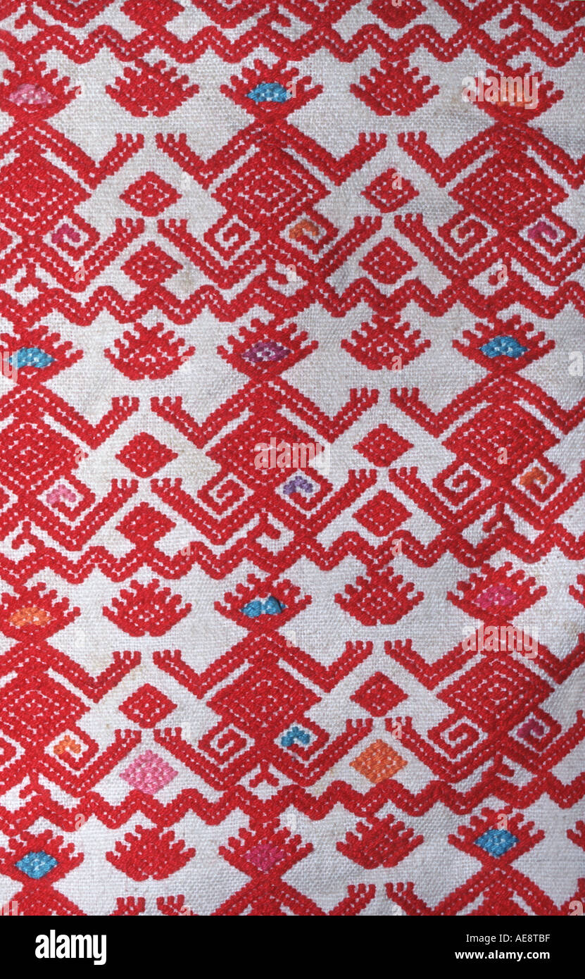 Mexican brocaded fabric with anthropomorphic motifs Chiapas Mexico - Stock Image