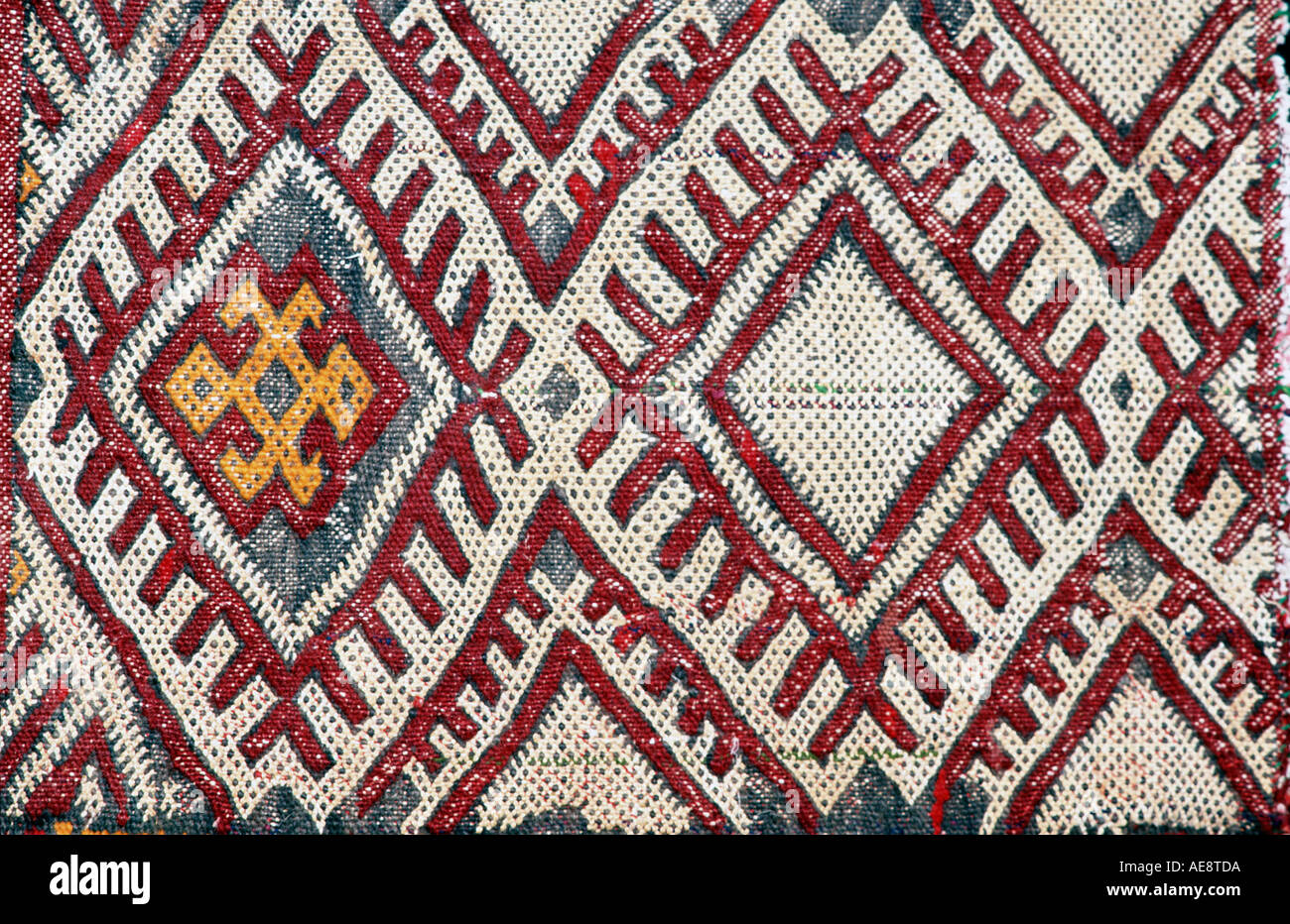 Woven fabric Morocco Berber Detail of Berber Zemmour kilim - Stock Image