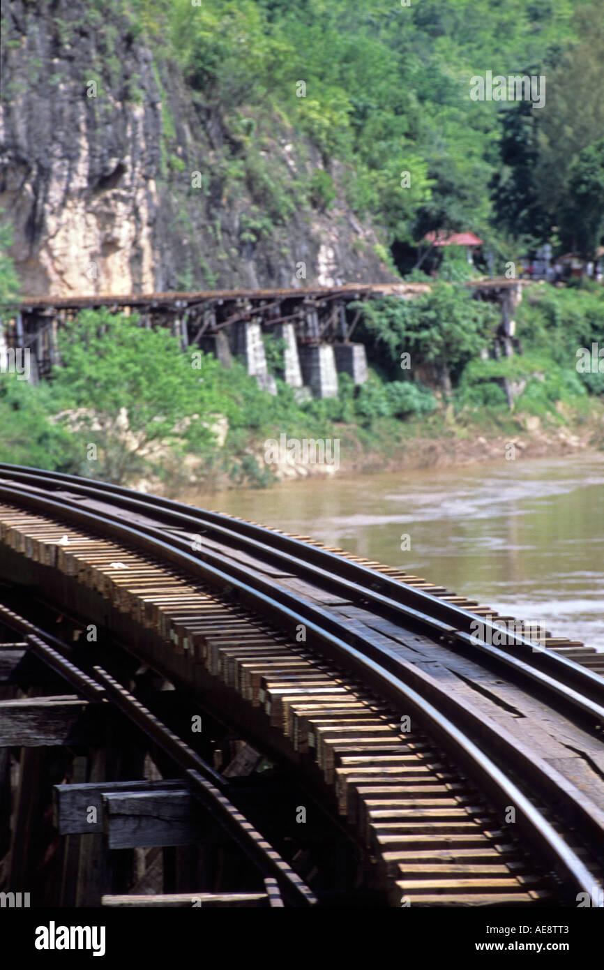 Railway track at Bridge on the River Kwai Thailand - Stock Image