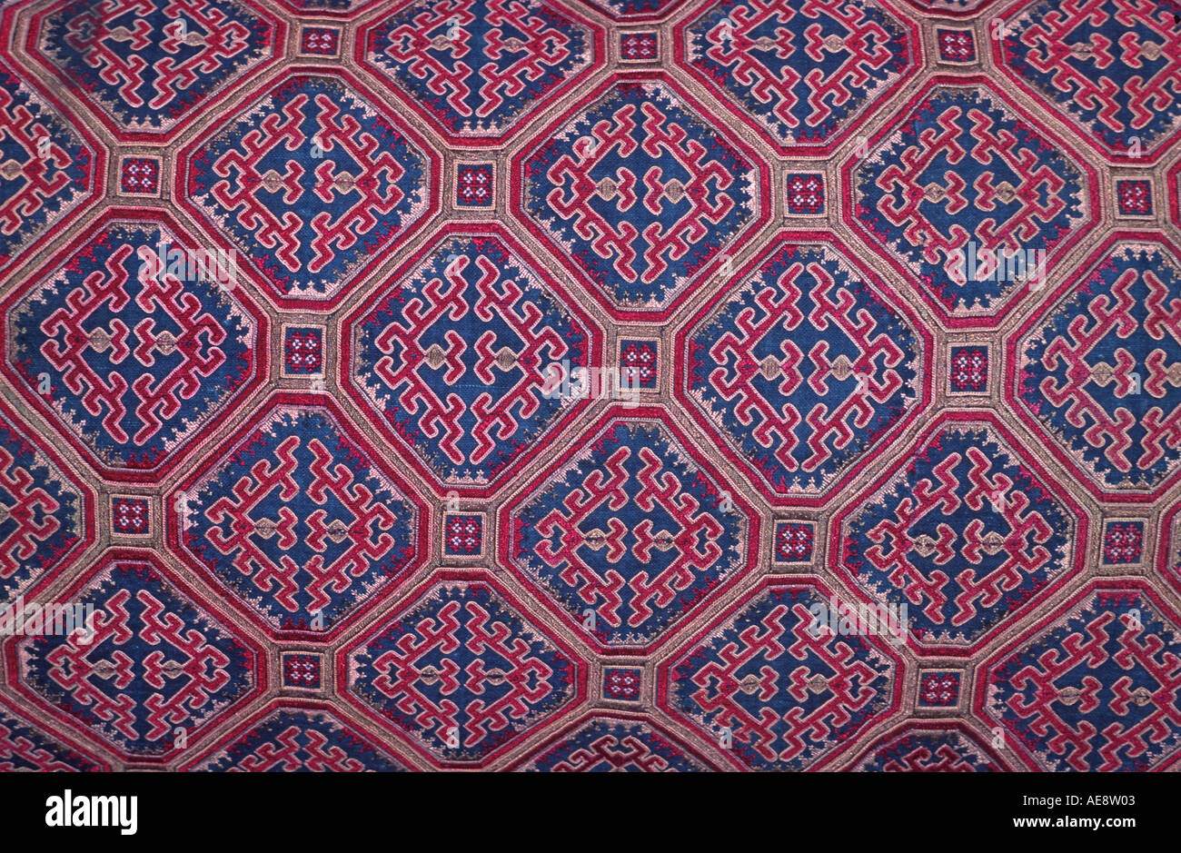 Silk embroidered textile Hmong hilltribes Northern Thailand Stock Photo