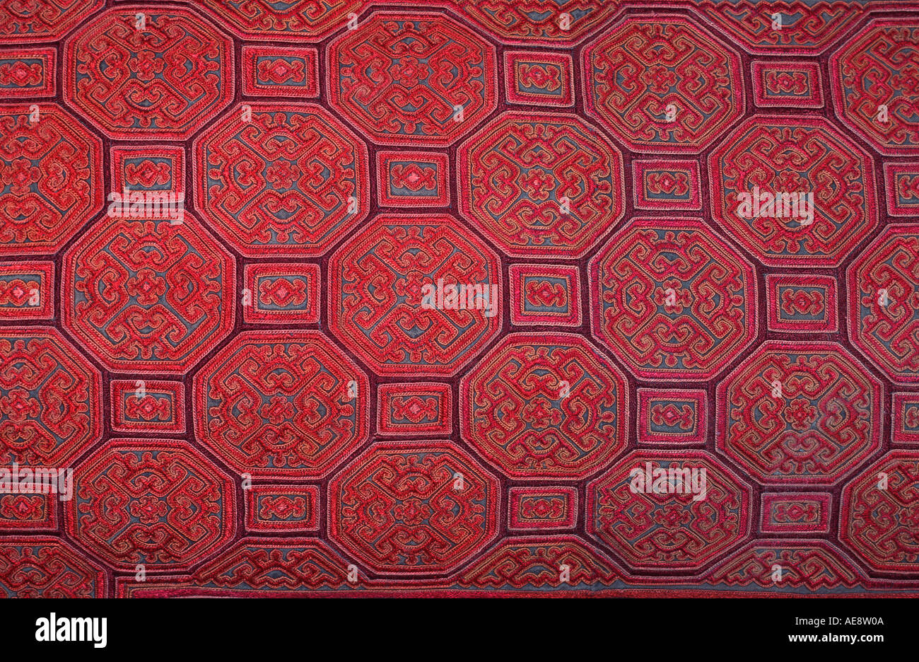 Silk embroidered textile Hmong hilltribes Northern Thailand - Stock Image