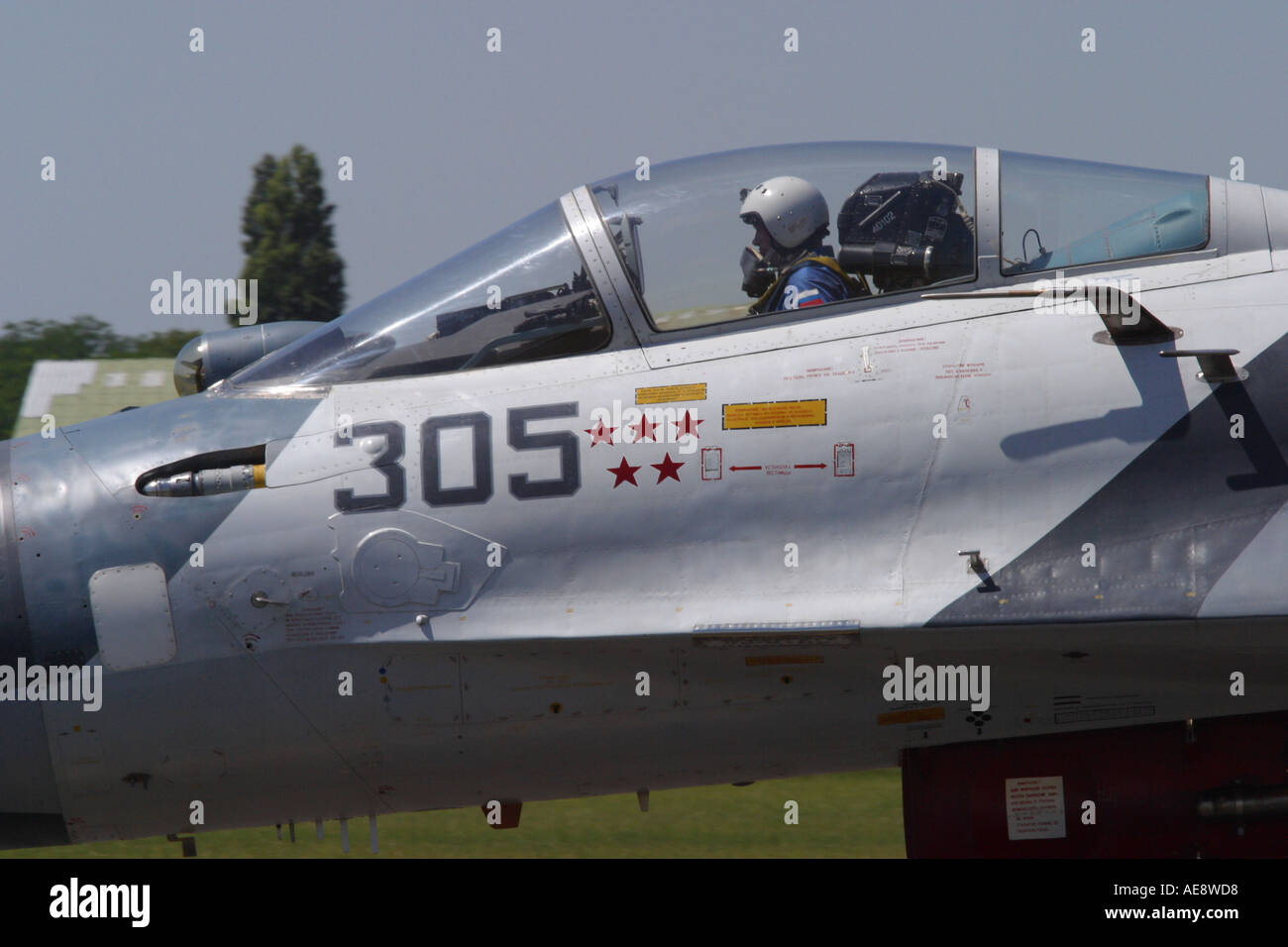 Russian built Sukhoi Su 27 air to air interceptor with pilot - Stock Image