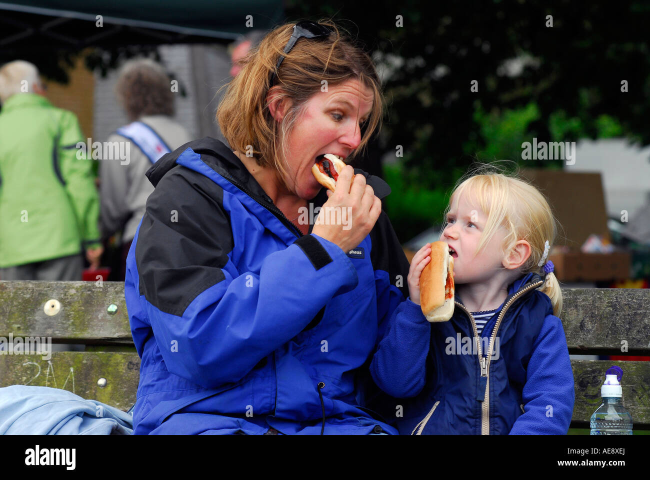Mother and daughter at a river festival in Teddington Middlesex UK - Stock Image