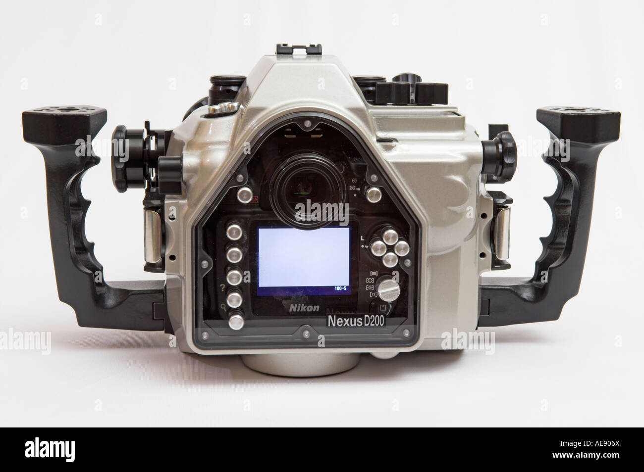 Closeup rear view Nexus D200 underwater camera housing for Nikon - Stock Image