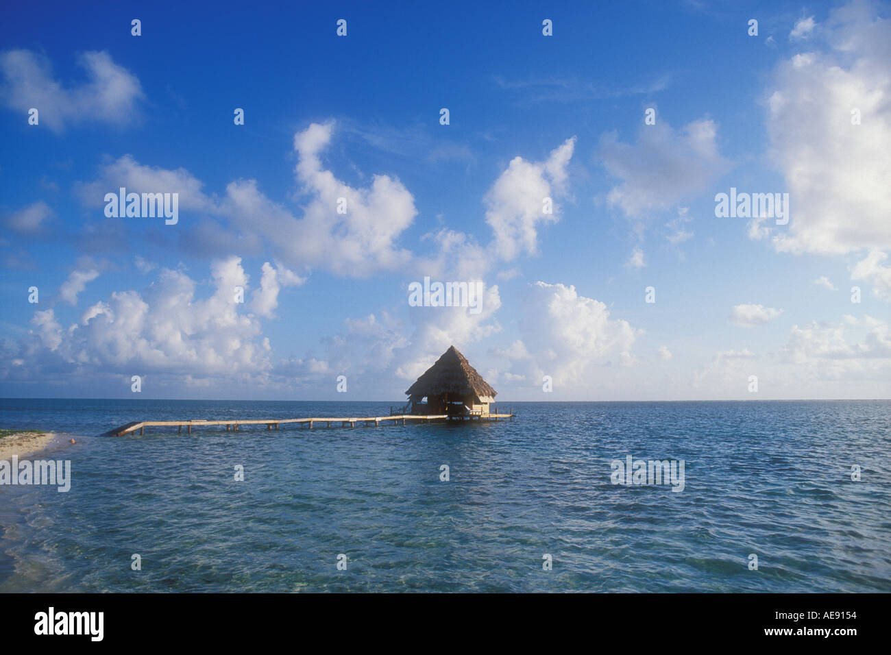 Over water bungalow Belize Caribbean Property released image - Stock Image